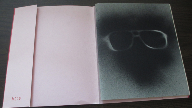 Inside cover!  Secret eyeglass stencil!