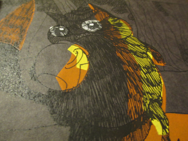 Detail of the photo-copied lineart on the screen-printed colors underneath